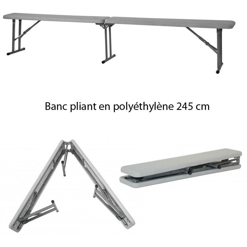 banc pliant en poly thyl ne 245 dimension 245 x 29 4 cm. Black Bedroom Furniture Sets. Home Design Ideas