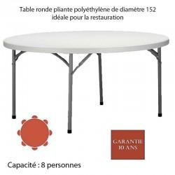Table ronde pliante polyéthylène PLANET150 Diam: 152, idéale pour la restauration Quantité de commande minimum de 5 tables