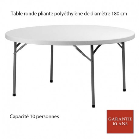 table ronde pliante poly thyl ne planet180 diam 180. Black Bedroom Furniture Sets. Home Design Ideas