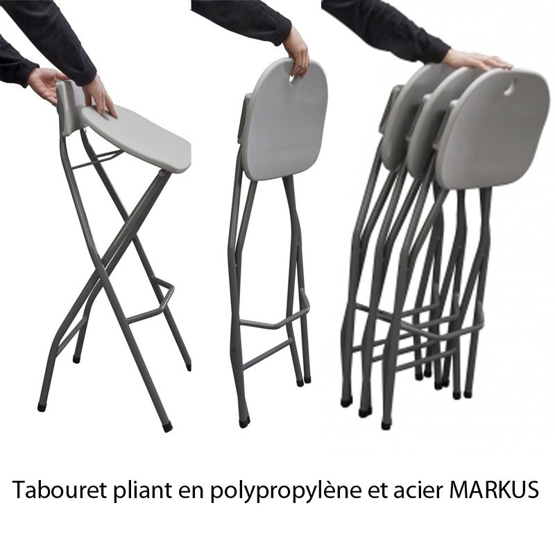 tabouret haut pliant polypropyl ne et acier alvar pour mange debout. Black Bedroom Furniture Sets. Home Design Ideas