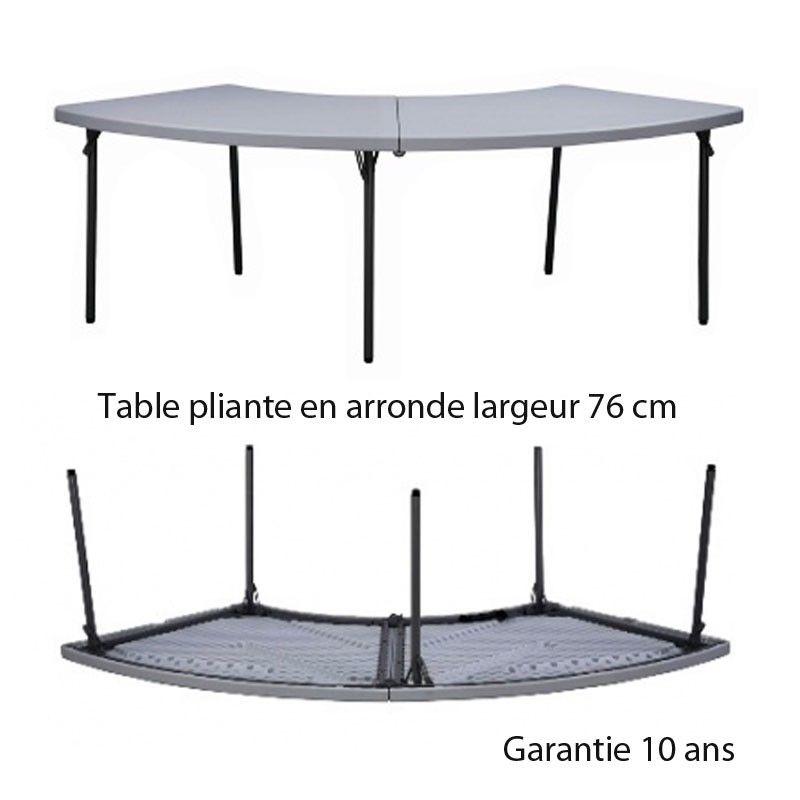 table pliante en arrondi 76 pour association avec les tables rectangulaires l 183. Black Bedroom Furniture Sets. Home Design Ideas