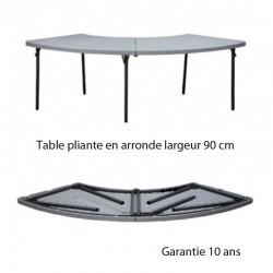 TABLE PLIANTE EN ARONDE LARGUEUR 90 Pour table rectangulaire L 200 et L 240 largueur 90cm