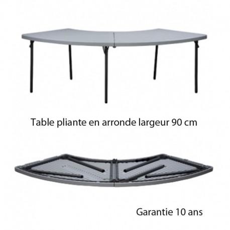 table pliante en arrondi 90 pour table rectangulaire l 200 et l 240 largueur 90cm. Black Bedroom Furniture Sets. Home Design Ideas
