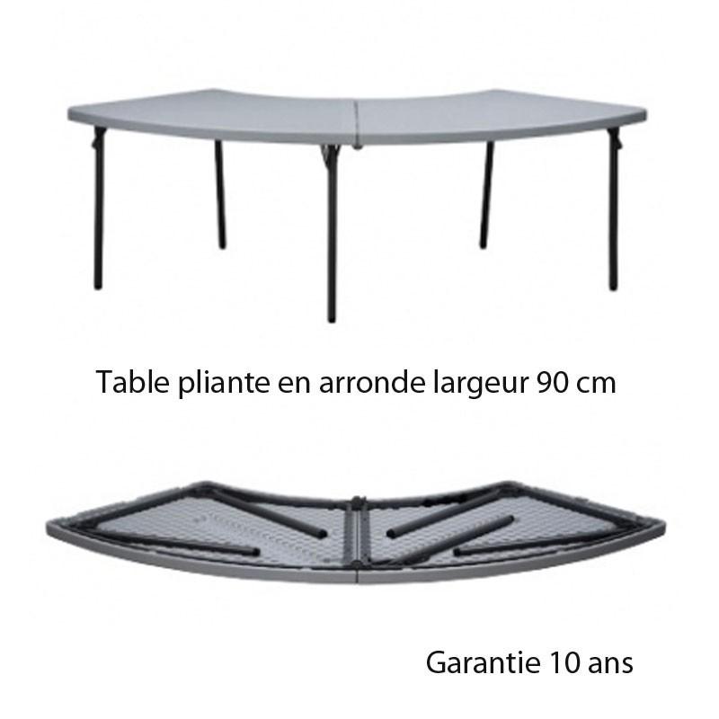 Table pliante en arrondi 90 pour table rectangulaire l 200 - Table haute pliante rectangulaire ...