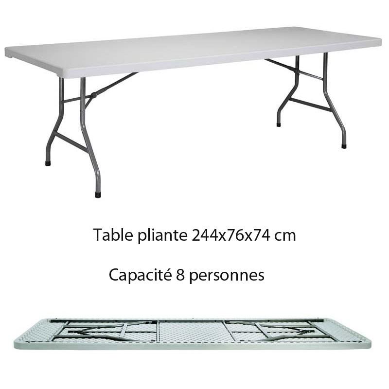 Table rectangulaire poly thyl ne pliante xl240 dim 244x76x74 - Dimension table rectangulaire ...
