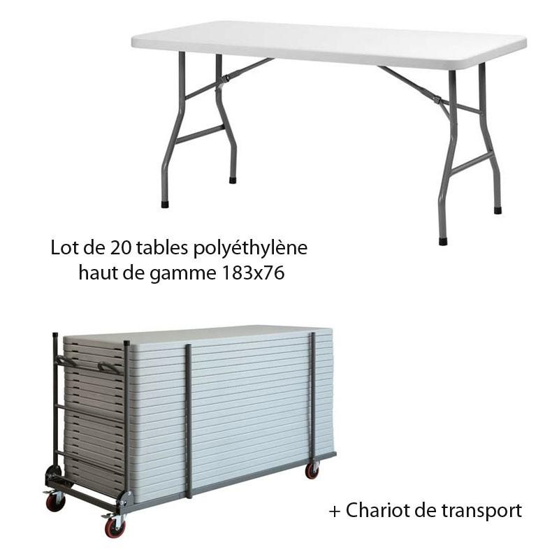 lot de 20 tables poly thyl ne qualit pro 183x76 chariot. Black Bedroom Furniture Sets. Home Design Ideas