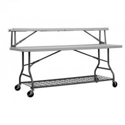 Table buffet pliante Table à 2 hauteurs : 1 table 183x76 Hauteur 74  - 1 comptoir 183x33 Hauteur 105