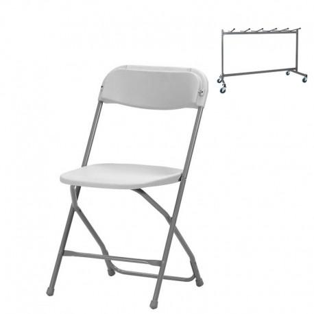 48 chaises Alex + Chariot de stockage (capacité de 48 chaises)