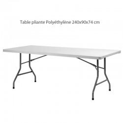 Table pliante Polyéthylène de dimension 240x90x74 cm.