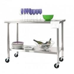 Table traiteur en acier inoxydable - rectangulaire