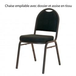 Chaise Igor empilable avec dossier et assise en tissu
