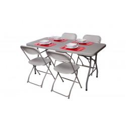 Pack 2 tables polyéthylènes 152cm et 8 chaises grises