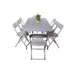 Pack 1 table polyéthylène 183x76 cm + 8 chaises polypropylènes