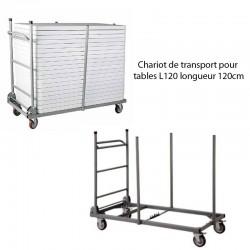 Chariot de transport pour tables L120 longueur 120cm Capacité de 20 tables