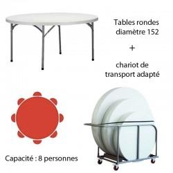Lot de 10  tables polyéthylène de diamètre 152 avec son Chariot de transport