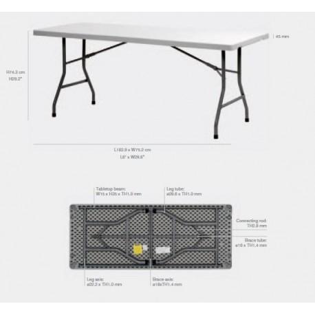 Lot de 20 tables polyéthylènes 183x76 cm Qualité PRO