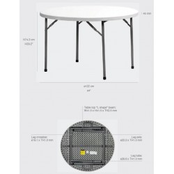 Table ronde pliante polyéthylène PLANET120 Diam: 120 Quantité de commande minimum de 5 tables