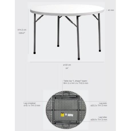Table ronde pliante polyéthylène PLANET120 Diam: 120