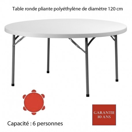 table ronde pliante poly thyl ne planet120 diam 120. Black Bedroom Furniture Sets. Home Design Ideas