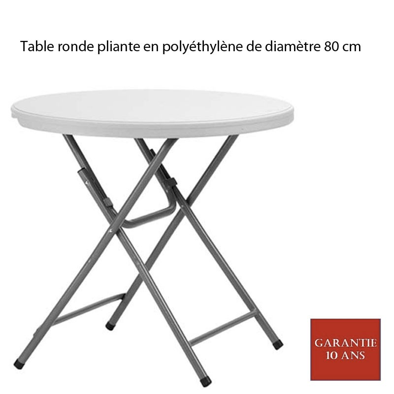 Table ronde pliante en poly thyl ne praxis 80 diam 80 - Table de bridge pliante ...
