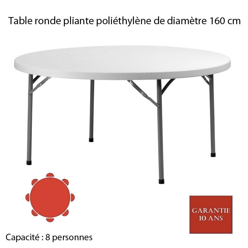 table ronde pliante poly thyl ne planet 160 diam 160. Black Bedroom Furniture Sets. Home Design Ideas