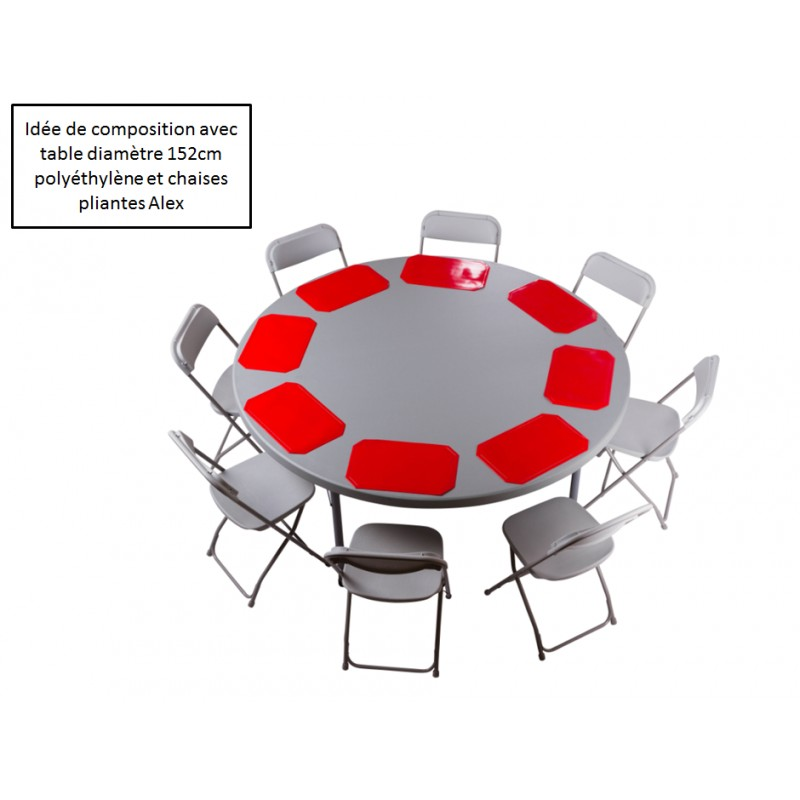 Table ronde pliante poly thyl ne planet150 diam 152 - Set de table pour table ronde ...