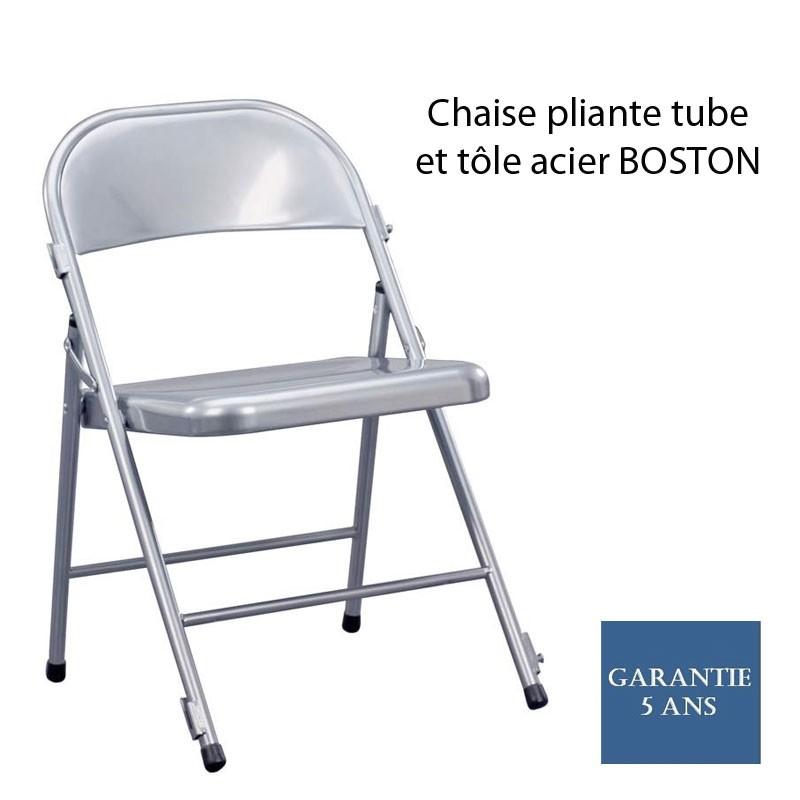 chaise pliante tube et t le acier boston avec syst me de